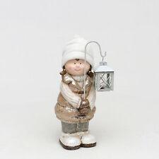 Enorme cerámica 19cm invierno niño MUÑECO CON LED Linterna escaparte Decoración