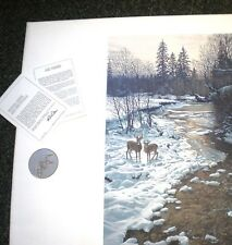 """RON PARKER  """"Winter Creek-Whitetails"""" Ed. 950 1987/Wildlife >30"""" SN Lithograph"""