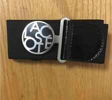 Lacoste Women's Elastic Black Interlocking Belt With Metal Lacoste Logo