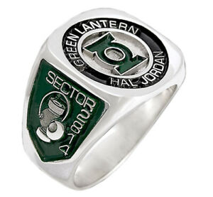 Solid Sterling Silver Sector 2814 Hal Jordan Green Lantern Ring