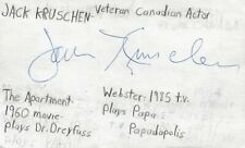 Jack Kruschen Canadian Actor The Apartment Movie Autographed Signed Index Card