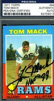 Tom Mack Hof 99 Psa/dna Authenticated Signed 1971 Topps Autograph