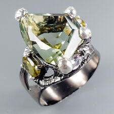 Vintage10ct+ Natural Green Amethyst 925 Sterling Silver Ring Size 8.5/R116677