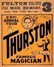 Vintage Antique Rare POSTER  1920's  THURSTON  Magic Show Magician Circus Fulton