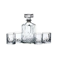 Cut Glass Whisky Decanter and Tumbler Gift Set Barcraft Scotch or Bourbon 5 Pcs