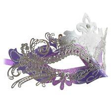 Purple Metal Lace Masquerade Mask | Venetian Silver Diamante Wedding Ball Mask