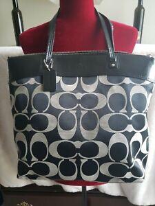 Coach Black Canvas Leather CC Tote Bookbag Shopper Gym Shoulder Beach Bag