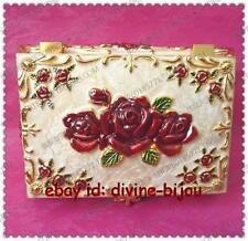 Cadeaux de Noël, Style rétro chinois cloisonne sculpture Rose boîtes à bijoux