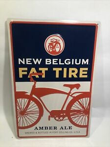 """New Belgium Fat Tire Amber Ale Beer Tin Sign Fort Collins Co 16.5""""x11"""""""