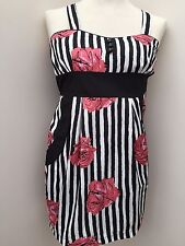 Boohoo - Pink Black & White Flower And Striped Strappy Dress - Size 12 - NEW