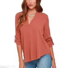 Women Chiffon V-neck Top Long Sleeve Shirt Casual Blouse Loose T-shirt Summer