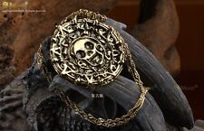 Fashion Retro Pirates of the Caribbean Aztec Bronze Coin Pendant Necklace