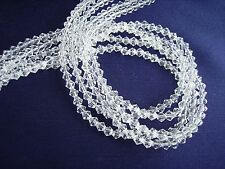 5 strands x 4mm Faceted Glass Bicone Beads  'Crystal Clear'
