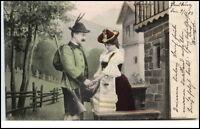 1904 Künstlerkarte Mann Frau in Tracht Jäger ab Flensburg nach Hamburg gelaufen