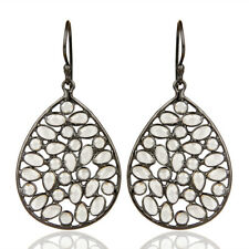 Trendy White Cz Dangle Black Rhodium Plated Fashion Gift Earrings Unique Jewelry