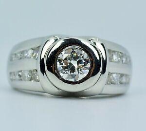 Heavy Men's Platinum Bezel Set Round Diamond Center W/ Channel Set Diamond Ring