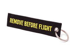 REMOVE BEFORE FLIGHT ® - Schlüsselanhänger in Schwarz / Gelb - ORIGINAL EU MARKE
