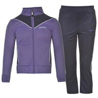 Donnay Poly Tracksuit Girls Size 5 6 yrs Zip Jacket Trousers Purple A641- 6