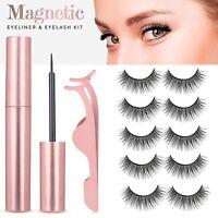 5 Pairs Magnetic Eyelashes Set with Magnet Eyeliner & Tweezer Kit Waterproof