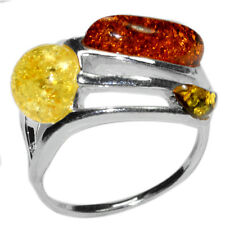 3.7g Authentic Baltic Amber 925 Sterling Silver Ring Jewelry s.5.5 A7410S55