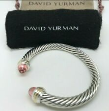 David Yurman Silver 925 & 14k Gold 7mm Cable Classic Morganite Cuff Bracelet
