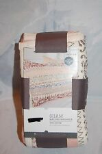 """New Ivory Threshold Scroll Multi Color Quilt Pillow Sham Standard 20"""" x 26"""""""