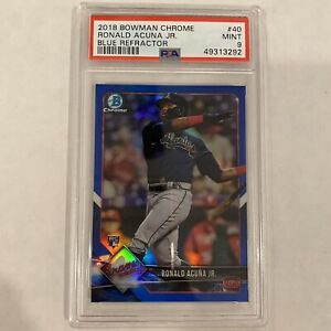 2018 Bowman Chrome Ronald Acuna Jr #40 Blue Refractor RC 21/150 Rookie PSA 9