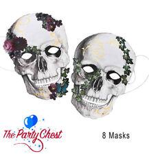 8 BAROQUE SKELETON CARD FACE MASKS Floral Skull Halloween Party Masks SKELMASKS