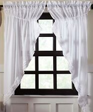 White Sheer Drawstring Prairie Curtain Set Romantic Cottage Chic Ruffled Cotton