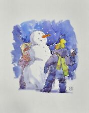Christmas New Year greeting card snowballs watercolor handmade by S. Avdeev
