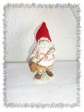 Figurine en Résine Père Noël Lutin avec sa Besace et son Bonnet Rouge en Polaire