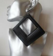 HUGE!!! black patterned rhombus style drop - dangley earrings   MASSIVE!   *NEW*