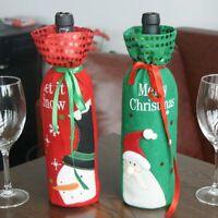 Sale Red Wine Bottle Cover Bags Snowman/Santa Claus Sequins Christmas Decoration