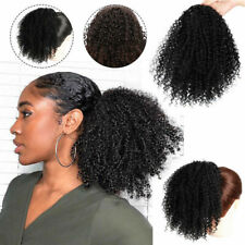Afro Kinky Curly Ponytail Clip in Drawstring Hair Extensions as Human Natural AU