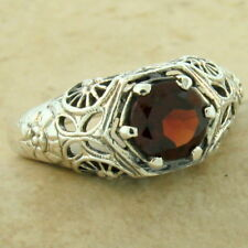 GENUINE GARNET SOLITAIRE .925 STERLING SILVER ANTIQUE STYLE RING SIZE 7,   #1106