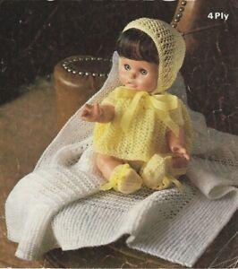 Vintage Baby Dolls Clothes Knitting Pattern Shawl Dress Bonnet Copy 4 ply