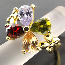 RING GENUINE REAL 18K YELLOW GF GOLD AMETHYST SPINEL RUBY SAPPHIRE FLOWER DESIGN