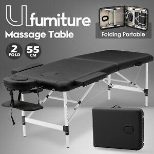55CM 2 Fold Aluminium Massage Table Portable Beauty SPA Therapy Bed Waxing Black