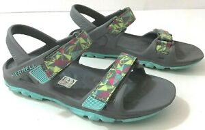 MERRELL ML-G Hydro Drift Girls 4Y Sandals Slingback Grey Blue Red