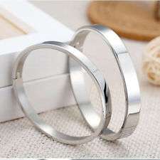 Men's Women's Stainless Steel Lover Polished Cuff Bangle Bracelet Wristband New