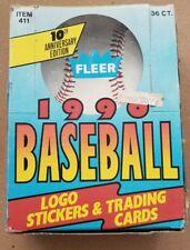 NEW Sealed Packs 1990 Fleer MLB Baseball Cards Box 36 Packs 10th Anniversary