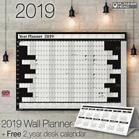 2019 Year Planner Annual Wall Chart Yearly Calendar with FREE 2yr Desk Calender