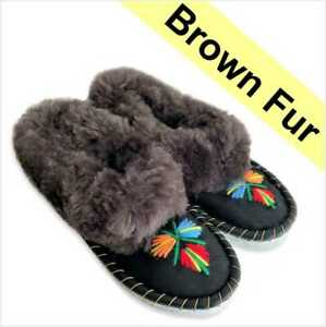 Genuine Leather Slippers Sheepskin House Moccasins Handmade Embroidered XmasGift