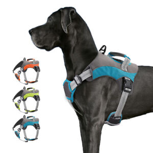 No Pull Reflective Adjustable Dog Harness W/ Handle Breathable Vest Bulldog S-XL