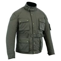 Warrior NEW Motorcycle Motorbike Waxed Cotton CE Armour WP Quilted Bikers Jacket