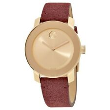 MOVADO BOLD ROSE GOLD DIAL RED SUEDE LEATHER STRAP WOMEN'S WATCH 3600447 NEW