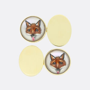 Cropp and Farr 9ct Yellow Gold Essex Crystal Fox Cufflinks