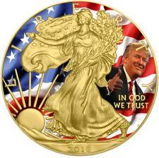 2018 USA $1 US FLAG W/ DONALD TRUMP WALKING LIBERTY 1 Oz Silver Coin, 24Kt Gold.