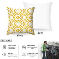 Yellow Cotton Linen Pillow Case Cushion Cover Home Decor US Sofa Car Waist Throw