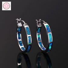 Classic Style 925 Sterling Silver Blue Fire Opal Hoop Shaped Stud Earrings